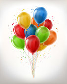 Vector realistic bunch of flying glossy balloons, multicolored, filled with helium isolated on white background. Clipart with decorative objects for holidays, birthday, carnival parties, events