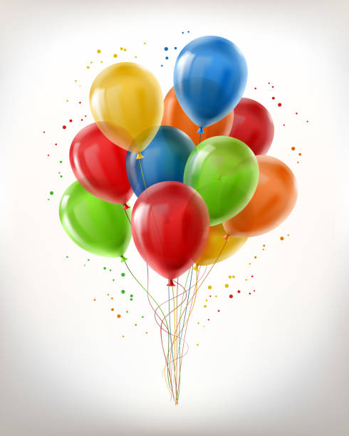 realistische vektor haufen glänzende luftballons fliegen - bund stock-grafiken, -clipart, -cartoons und -symbole