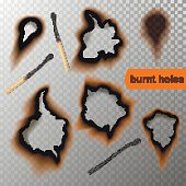 Vector realistic burnt paper holes and banners on transparent background.
