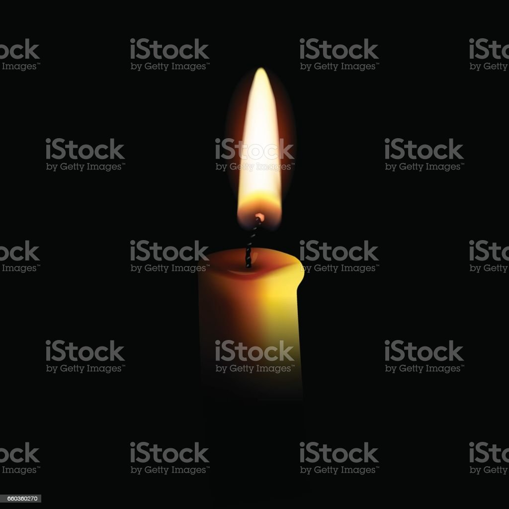 Vector realistic candle with fire isolated on black background.