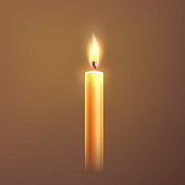 Realistic candle with flame. Church religious ceremony symbol. Festive holiday party, night lighting, christmas or new year decoration. Glowing warm wax object for meditation. Vector illustration