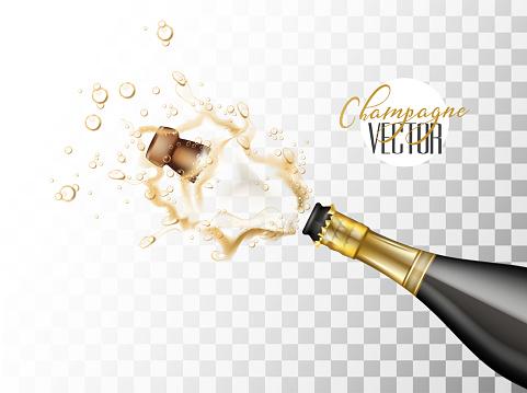 Vektorrealistische Champagner Explosion Closeup Stock Vektor Art und mehr Bilder von Alkoholisches Getränk