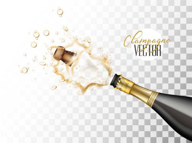 illustrazioni stock, clip art, cartoni animati e icone di tendenza di vector realistic champagne explosion closeup - bottle soft drink
