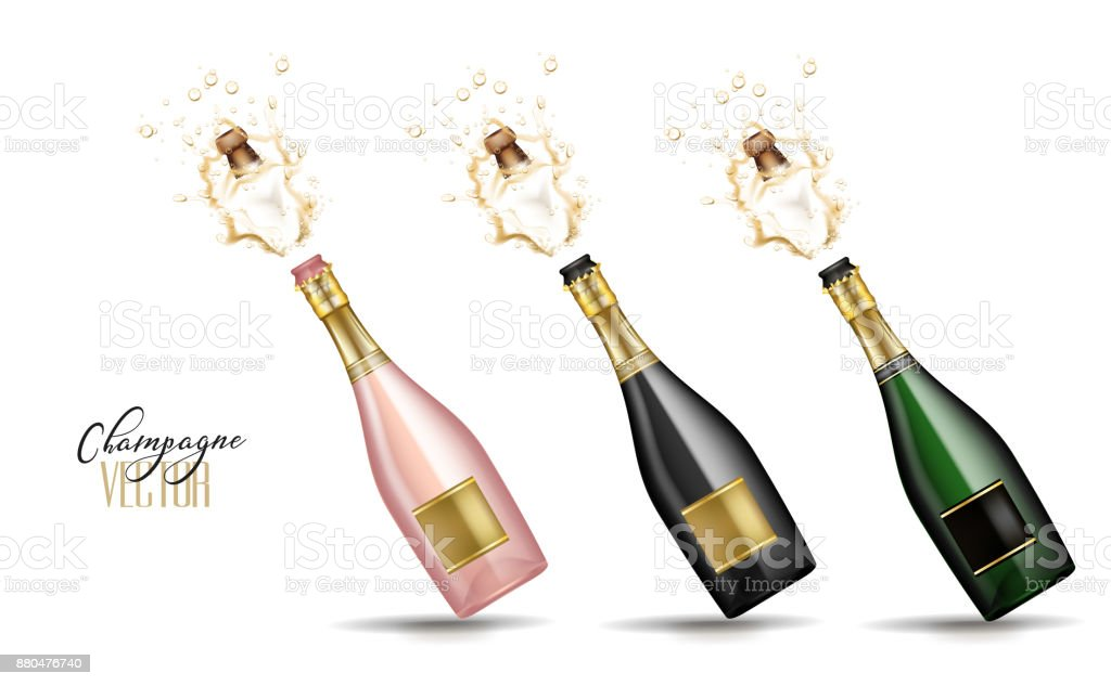 vector realistic champagne explosion vector art illustration