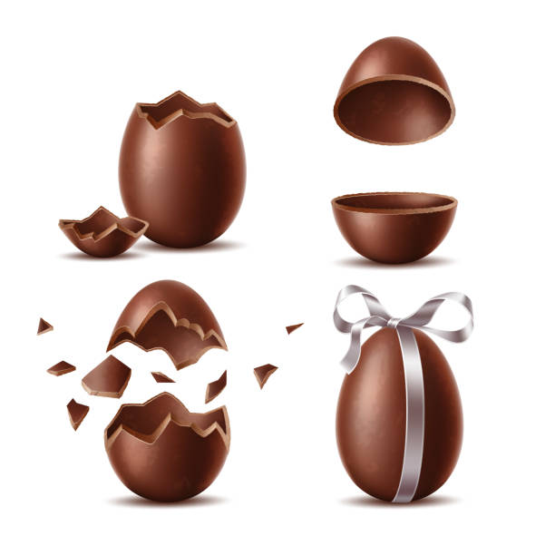 vector realistic chocolate eggs set easter symbol - egg stock illustrations