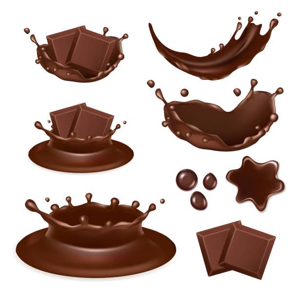 벡터 현실적인 초콜릿 양식 아이콘 세트 - 초콜릿 stock illustrations