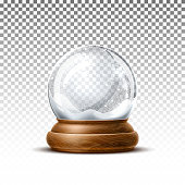 Vector christmas snowglobe on transparent background. Realistic traditional winter holiday decoration crystal with snow, snowflakes inside. Xmas magical toy, empty sphere, 3d illustration