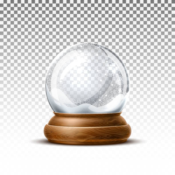 Vector realistic christmas snowglobe 3d winter toy Vector christmas snowglobe on transparent background. Realistic traditional winter holiday decoration crystal with snow, snowflakes inside. Xmas magical toy, empty sphere, 3d illustration no people stock illustrations