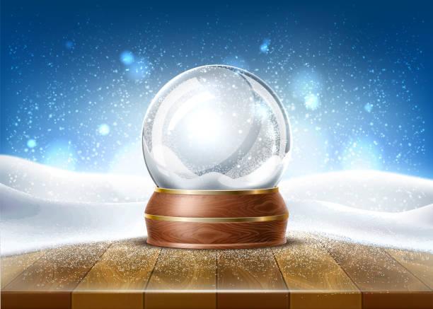 illustrazioni stock, clip art, cartoni animati e icone di tendenza di vettore realistico natale snowglobe 3d giocattolo invernale - christmas table