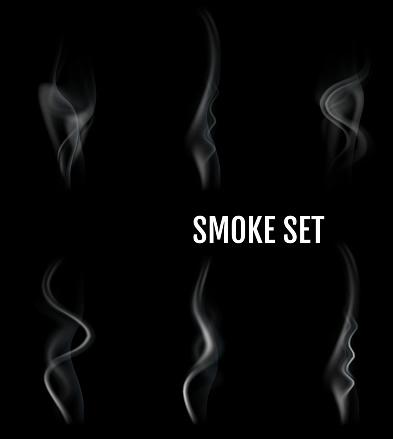 Vector realistic cigarette smoke waves.