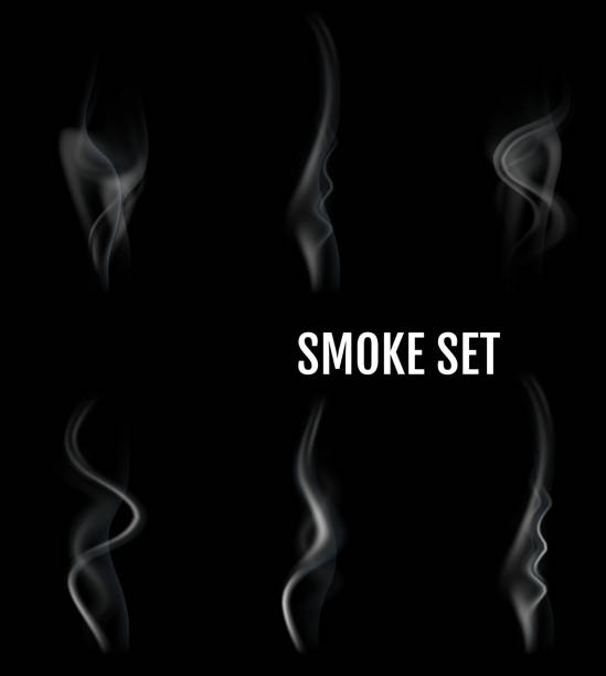 Vector realistic cigarette smoke waves. vector art illustration