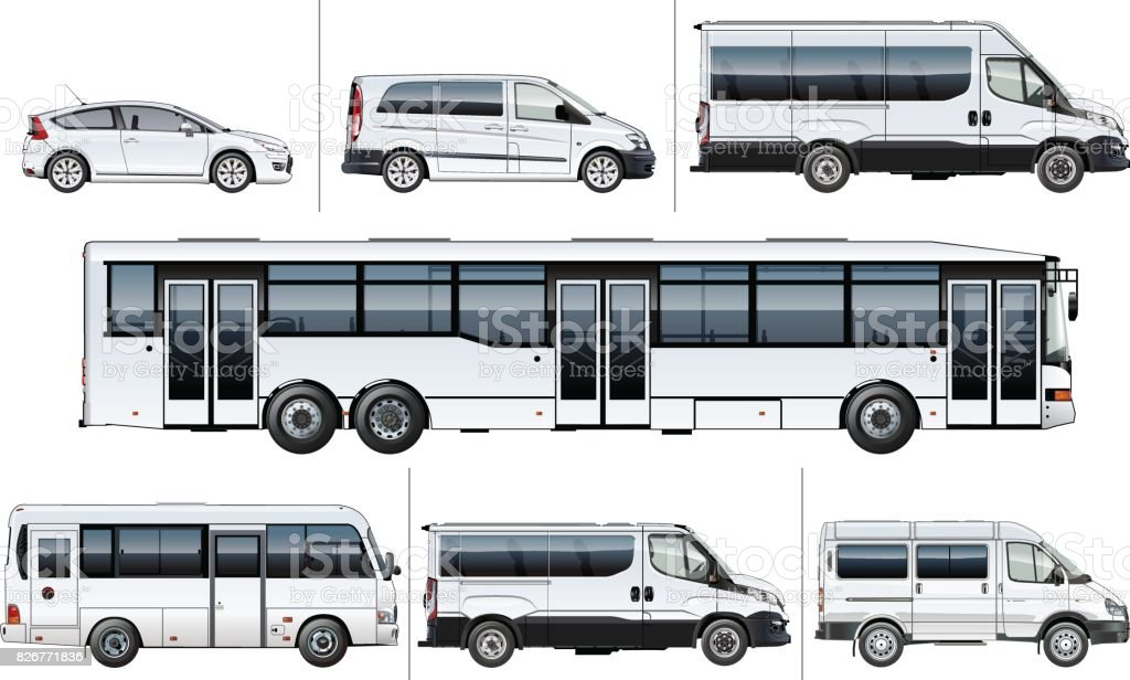 Vector realistic city transport mock-up vector art illustration