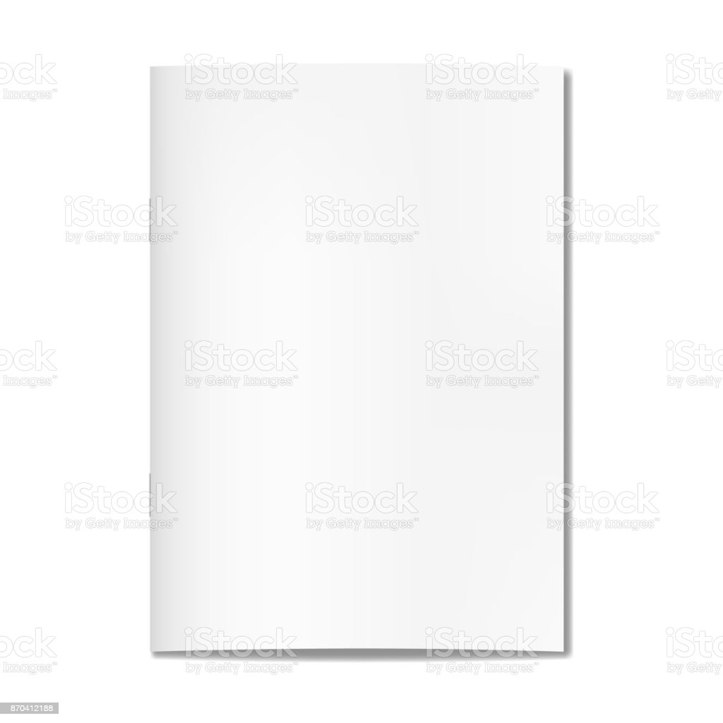 Vector realistic closed book, journal or magazine cover mockup with sheet of A4
