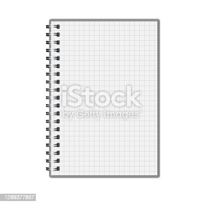 istock Vector Realistic closed Notebook with cover. Mockup. Copybook with metal spring. Blank White template. Copybook, booklet, journal, organizer, diary. EPS10. 1289377857
