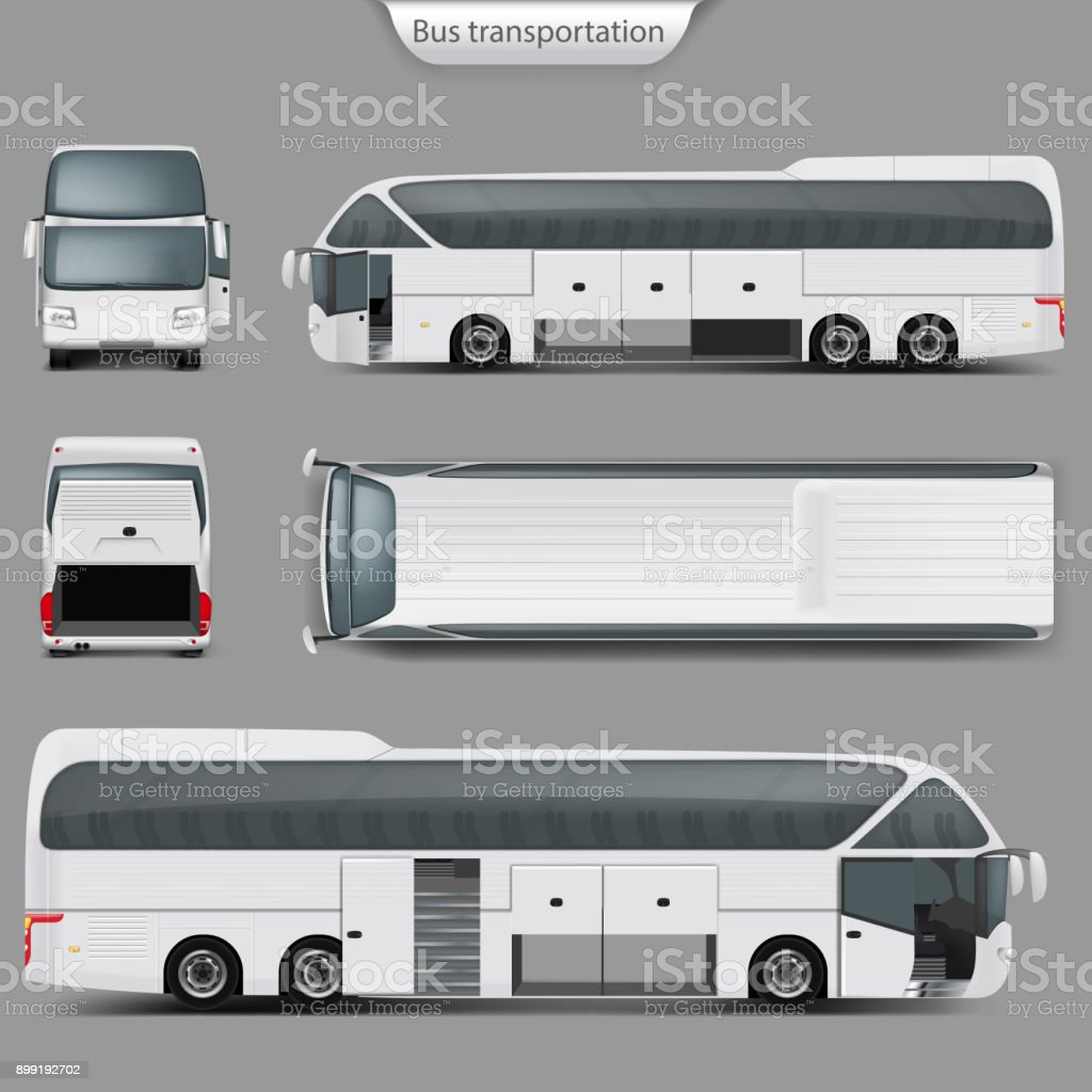Vector Realista Coche Bus Maqueta Parte Posterior Vista Superior ...