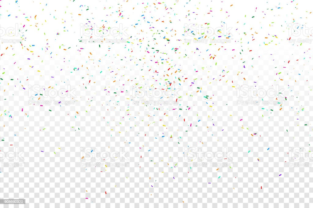 Vector realistic colorful confetti on the transparent background. Concept of happy birthday, party and holidays. - Grafika wektorowa royalty-free (Abstrakcja)