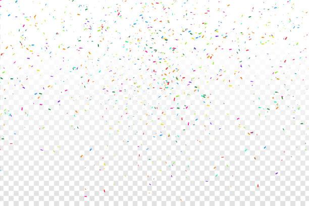 stockillustraties, clipart, cartoons en iconen met vector realistische kleurrijke confetti over de transparante achtergrond. concept van gelukkige verjaardag, feest en feestdagen. - confetti