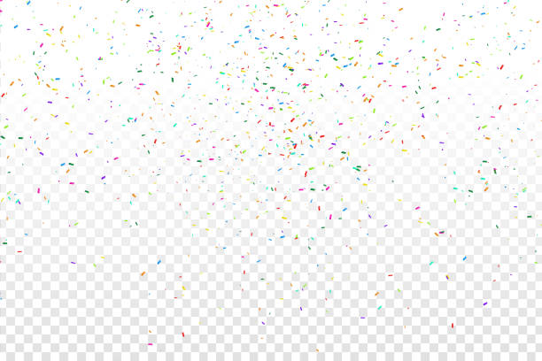 vector realistic colorful confetti on the transparent background. concept of happy birthday, party and holidays. - confetti stock illustrations