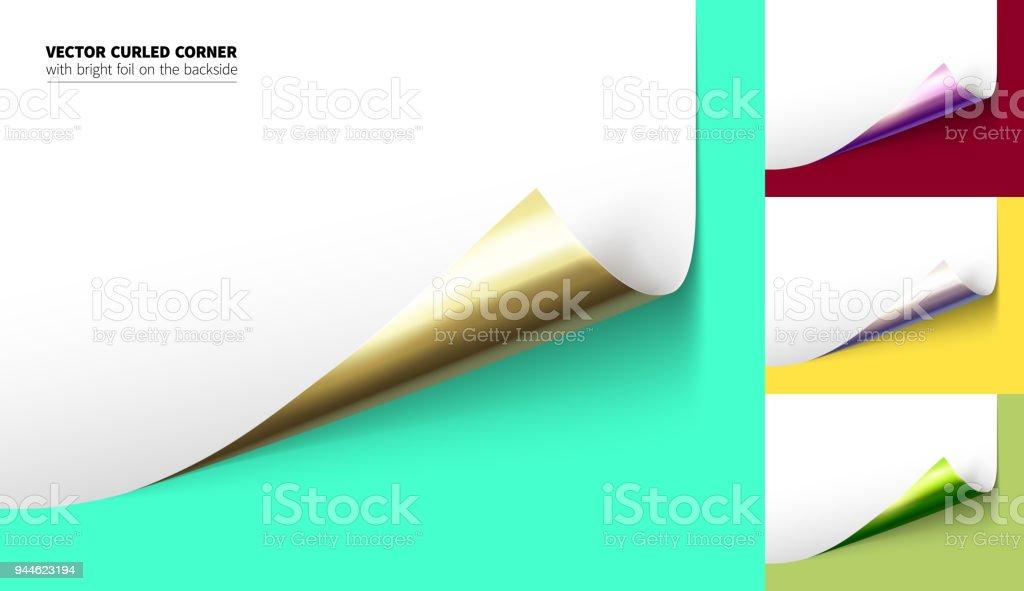 Vector realistic curled corner vector art illustration