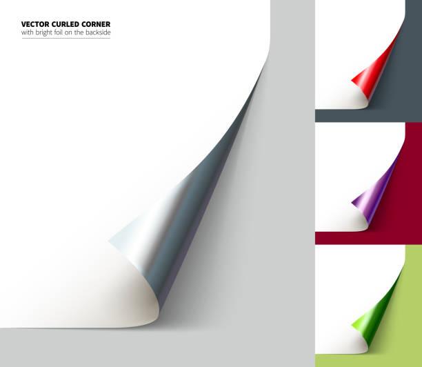 vector realistic curled corner - aluminum foil roll stock illustrations, clip art, cartoons, & icons