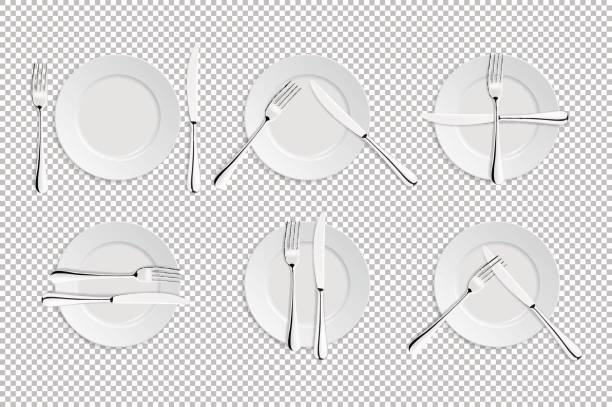 illustrazioni stock, clip art, cartoni animati e icone di tendenza di vector realistic cutlery and signs of table etiquette. catering facilities isolated icons. set of of forks, table knives and plates. illustration of tableware for cafes, restaurants etc - galateo a tavola