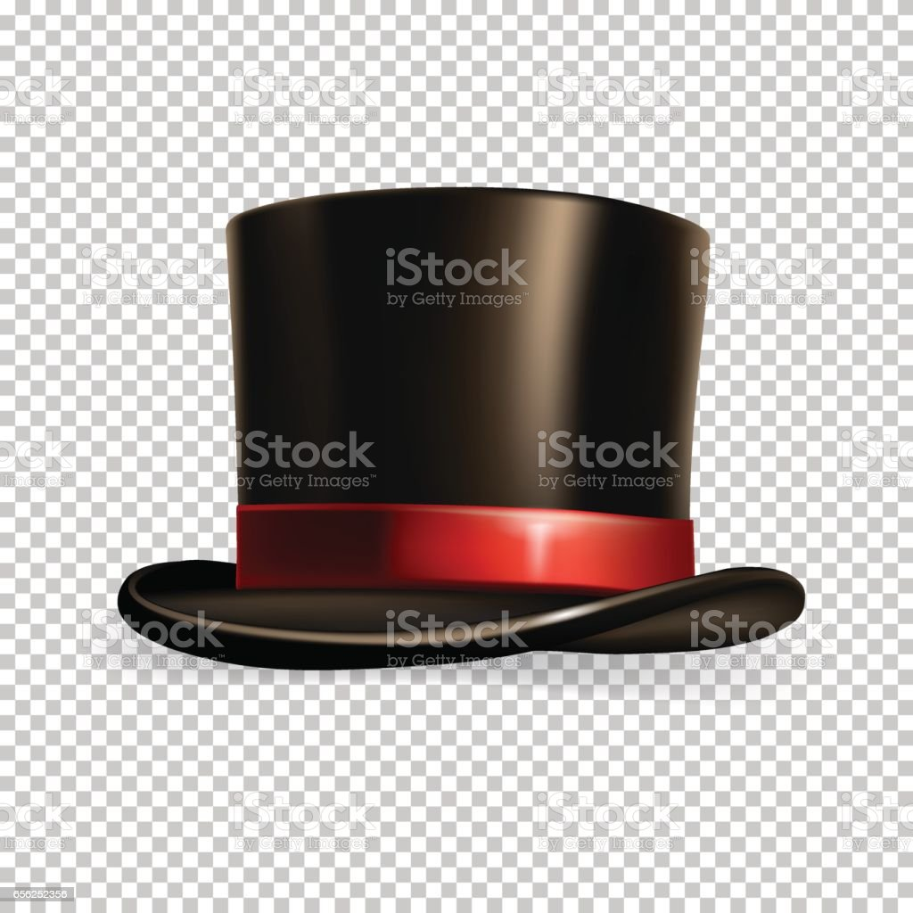 Vector realistic cylinder hat isolated on transparent background. vector art illustration