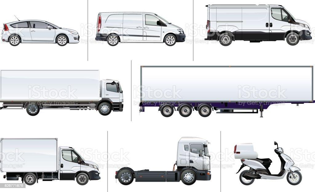 Vector realistic delivery transport mock-up vector art illustration