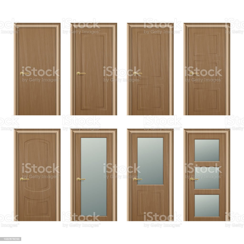 Vector Realistic Different Closed Brown Wooden Door Icon Set Closeup