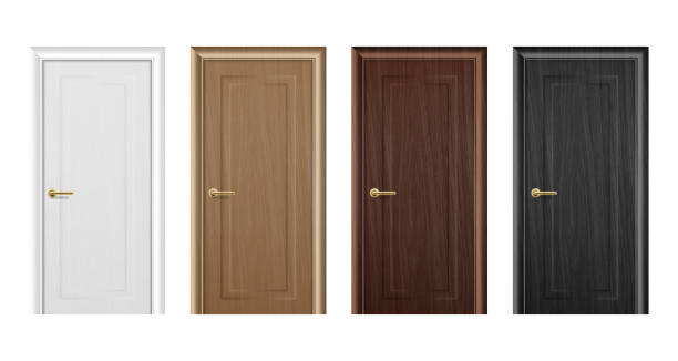 Vector realistic different closed brown wooden door icon set closeup isolated on white background. Elements of architecture. Design template for graphics, Front view Vector realistic different closed brown wooden door icon set closeup isolated on white background. Elements of architecture. Design template for graphics, Front view. front door stock illustrations