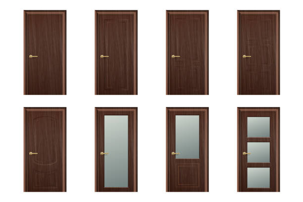 Vector Realistic Different Closed Brown Wooden Door Icon Set Closeup Isolated on White Background. Elements of Architecture. Design template of Classic Home Door for Graphics, Clipart. Front View Vector Realistic Different Closed Brown Wooden Door Icon Set Closeup Isolated on White Background. Elements of Architecture. Design template of Classic Home Door for Graphics, Clipart. Front View. vehicle door stock illustrations