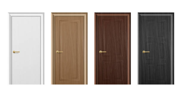 Vector realistic different closed white, brown and black wooden door icon set closeup isolated on white background. Elements of architecture. Design template for graphics. Colorful front doors to houses and buildings collection. Front view Vector realistic different closed white, brown and black wooden door icon set closeup isolated on white background. Elements of architecture. Design template for graphics. Colorful front doors to houses and buildings collection. Front view. door stock illustrations