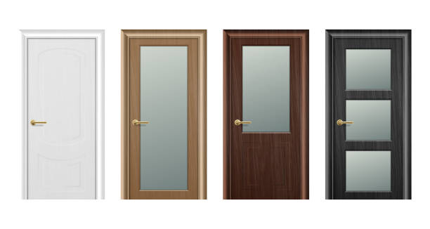 Vector realistic different closed white, brown and black wooden door icon set closeup isolated on white background. Elements of architecture. Design template for graphics. Colorful front doors to houses and buildings collection. Front view Vector realistic different closed white, brown and black wooden door icon set closeup isolated on white background. Elements of architecture. Design template for graphics. Colorful front doors to houses and buildings collection. Front view. front door stock illustrations
