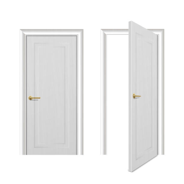 Vector realistic different opened and closed white wooden door icon set closeup isolated on white background. Elements of architecture. Design template for graphics, Front view Vector realistic different opened and closed white wooden door icon set closeup isolated on white background. Elements of architecture. Design template for graphics, Front view. front door stock illustrations