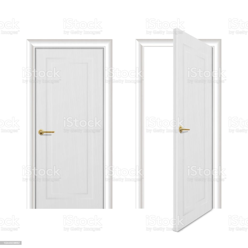 6109caf65233 Vector realistic different opened and closed white wooden door icon set  closeup isolated on white background. Elements of architecture. Design  template for ...