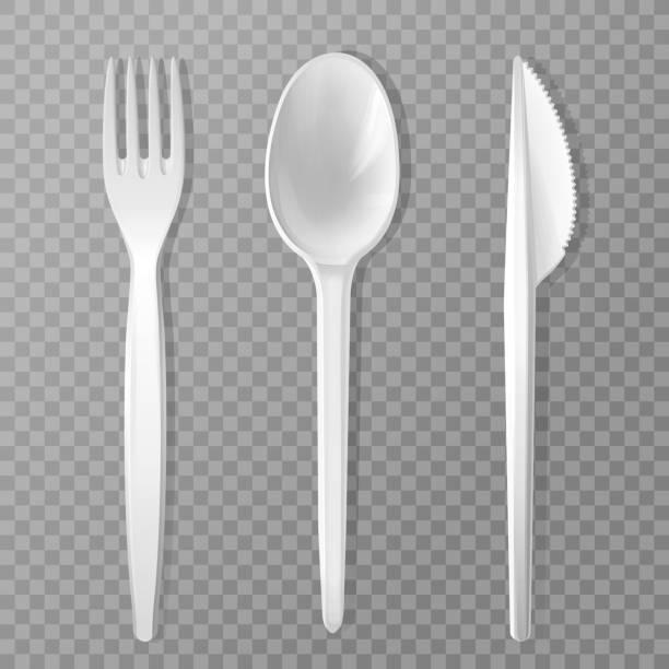 stockillustraties, clipart, cartoons en iconen met vector realistische wegwerp vork mes lepel - tafel restaurant top