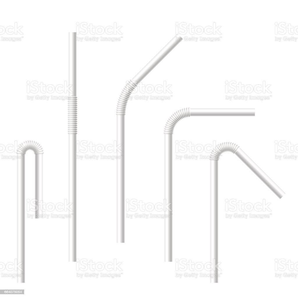 Vector realistic drinking straws set. vector art illustration