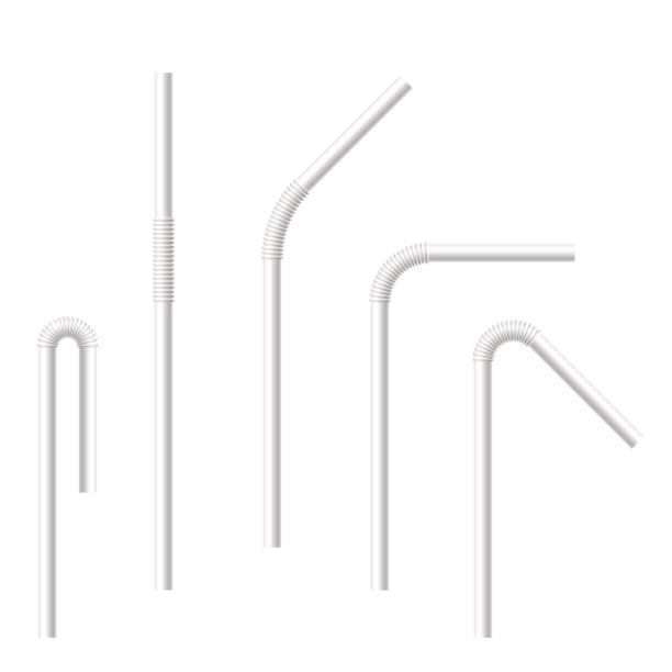 illustrazioni stock, clip art, cartoni animati e icone di tendenza di vector realistic drinking straws set. - cannuccia