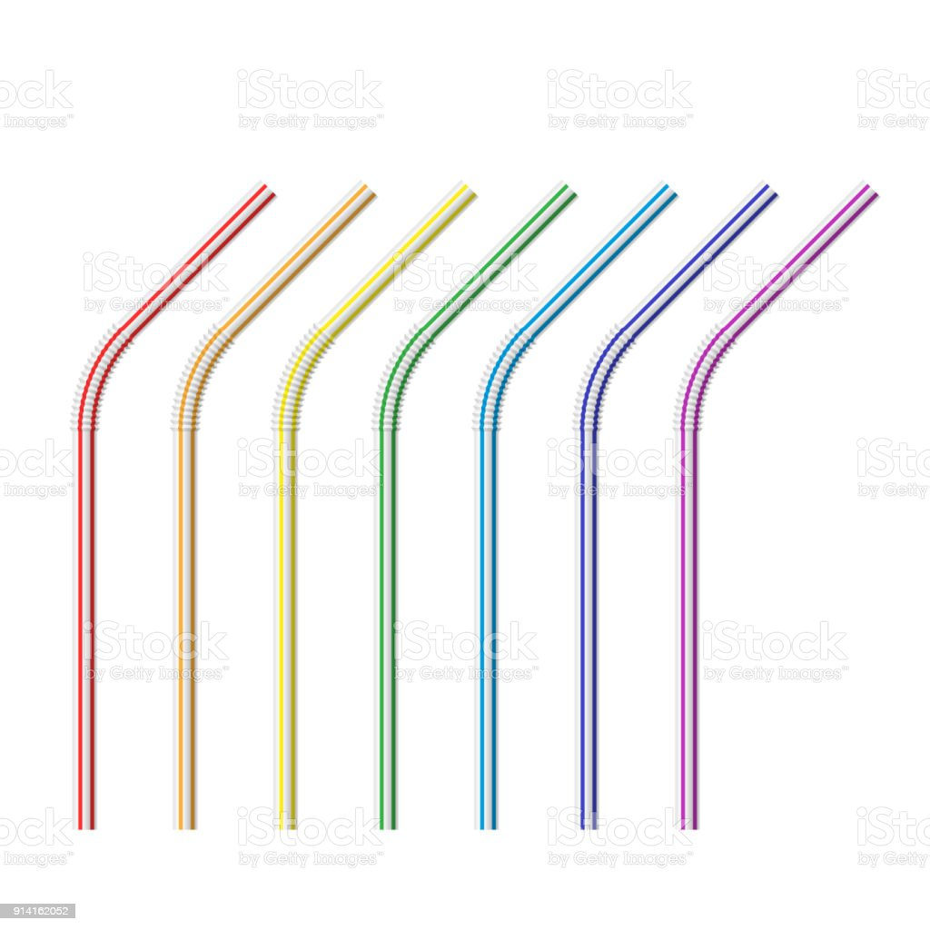 Vector realistic drinking straws striped vector art illustration