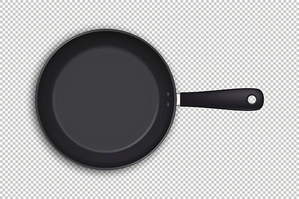 Vector realistic empty frying pan icon in top view isolated Realistic empty frying pan icon in top view isolated on transparent background. Design template. Vector EPS10 illustration. frying pan stock illustrations