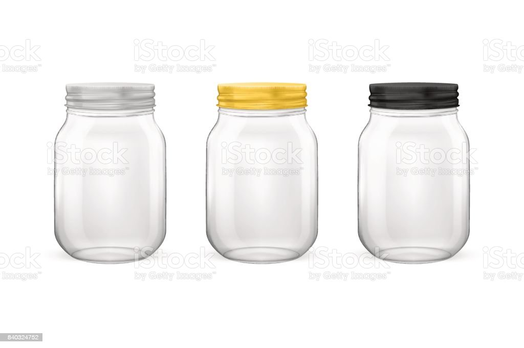 Vector realistic empty glass jar for canning and preserving set with silvery, golden and black lids closeup isolated on white background. Design templates for advertise, branding, mockup. EPS10 vector art illustration