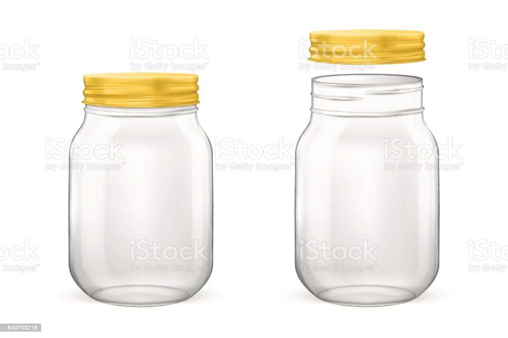 Vector realistic empty glass jar for canning and preserving set with golden lid - open and closed - closeup isolated on white background. Design template for advertise, branding, mockup. EPS10 vector art illustration