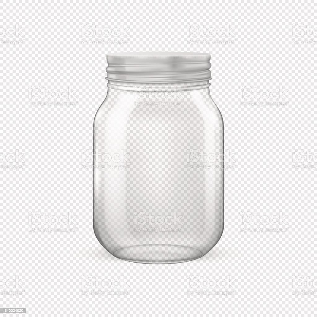 Vector realistic empty glass jar for canning and preserving with silvery lid closeup isolated on transparent background. Design template for advertise, branding, mockup. EPS10 vector art illustration