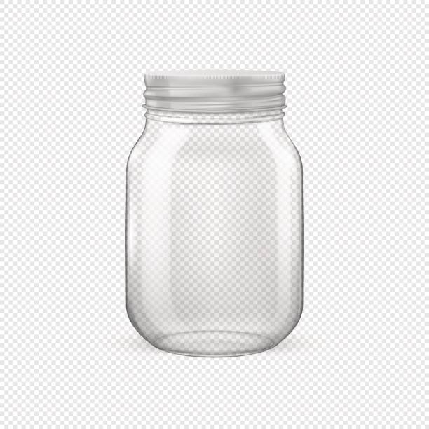 Vector realistic empty glass jar for canning and preserving with silvery lid closeup isolated on transparent background. Design template for advertise, branding, mockup. EPS10 Vector realistic empty glass jar for canning and preserving with silvery lid closeup isolated on transparent background. Design template for advertise, branding, mockup. EPS10 illustration. no people stock illustrations