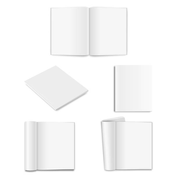 vector realistic empty paper closed and opened a5 magazine, book, catalog or brochure with rolled white paper pages, turned sheets icon set closeup on white background. design template, mockup for graphics. front, top and isometric view - composition notebook cover stock illustrations, clip art, cartoons, & icons