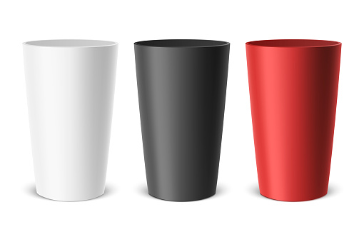 Vector realistic empty plastic cup. Example for office supplies, drinks, icon set. Closeup isolated on white background. Design template, clipart or mockup for graphics - web, app. Front view