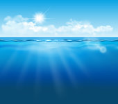 Vector realistic empty underwater view with blue sky, clouds and sun and light effects