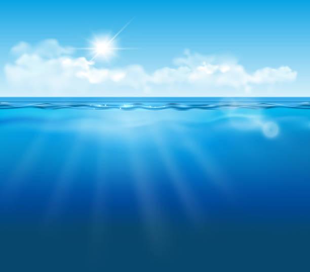 ilustrações de stock, clip art, desenhos animados e ícones de vector realistic empty underwater view with blue sky, clouds and sun and light effects - na superfície