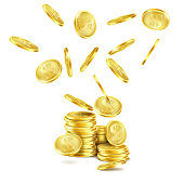 Vector realistic falling gold coins isolated on white background. Golden money rain and stack of metal dollars with S symbol. Concept illustration of business success or cash jackpot for casino poster