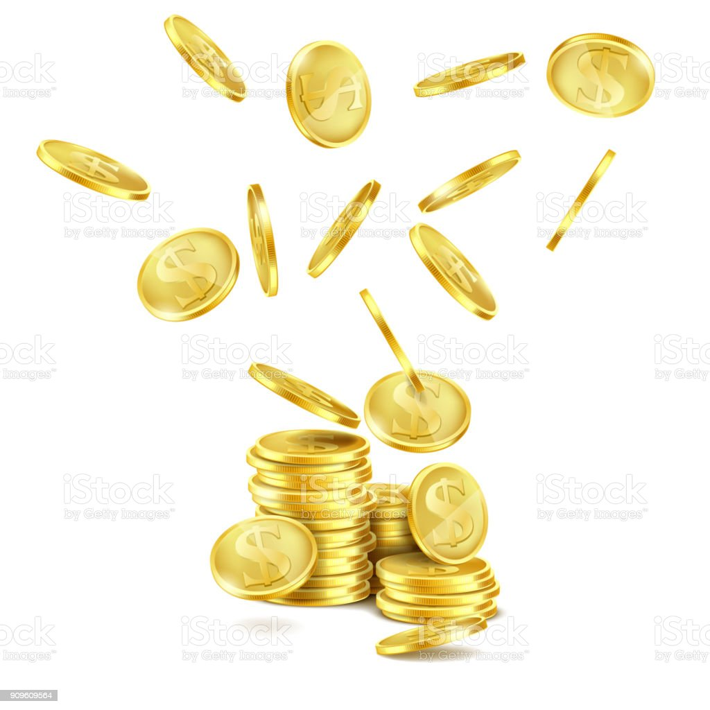 Vector realistic falling gold coins, rain of money vector art illustration