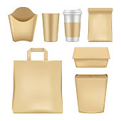 Vector realistic fast food package set